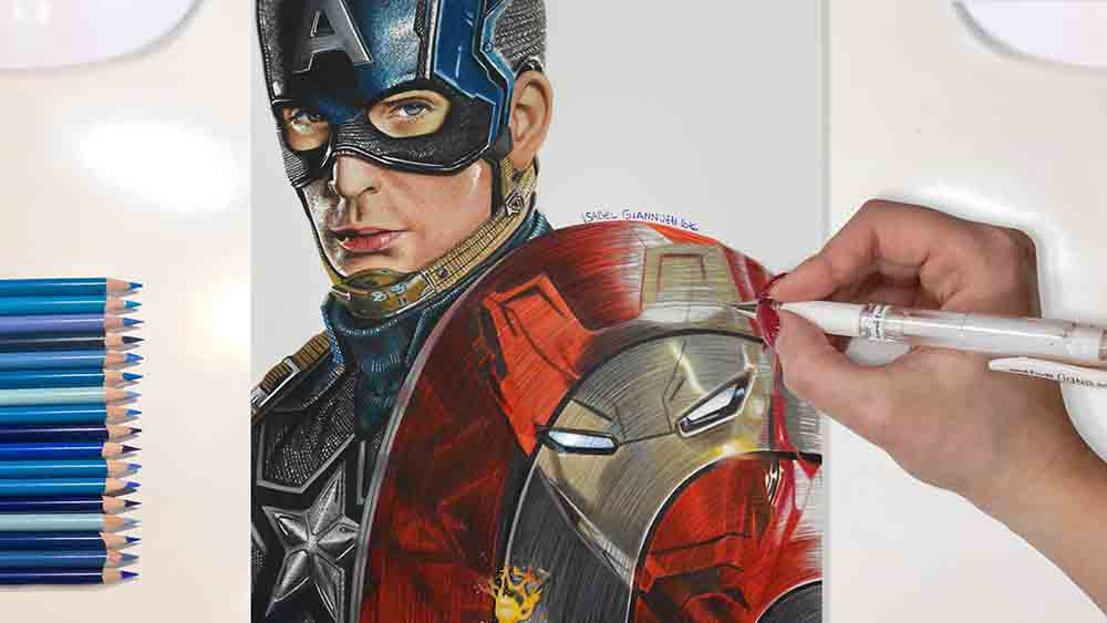 drawing captain america marvel