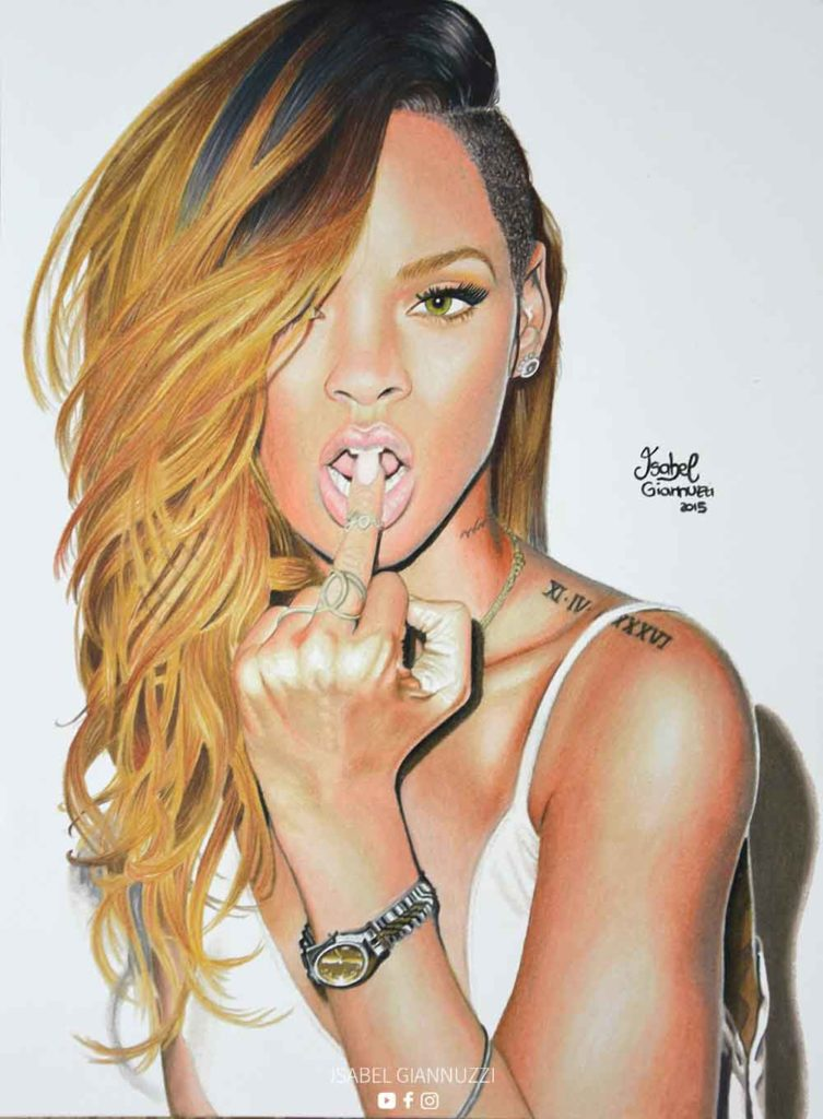Realistic Drawing Rihanna Fan Art