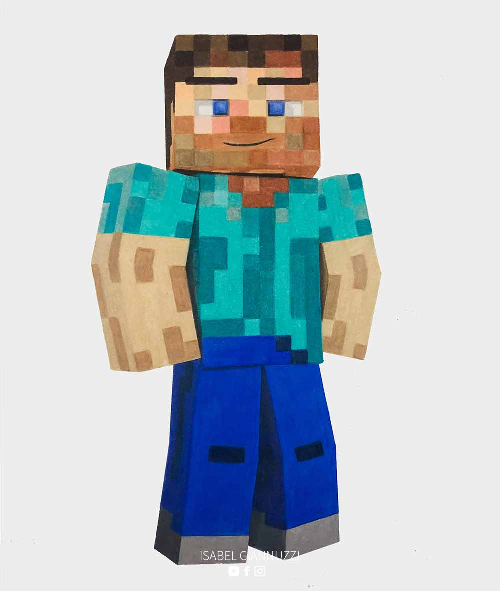 Drawing Minecraft Art 3D