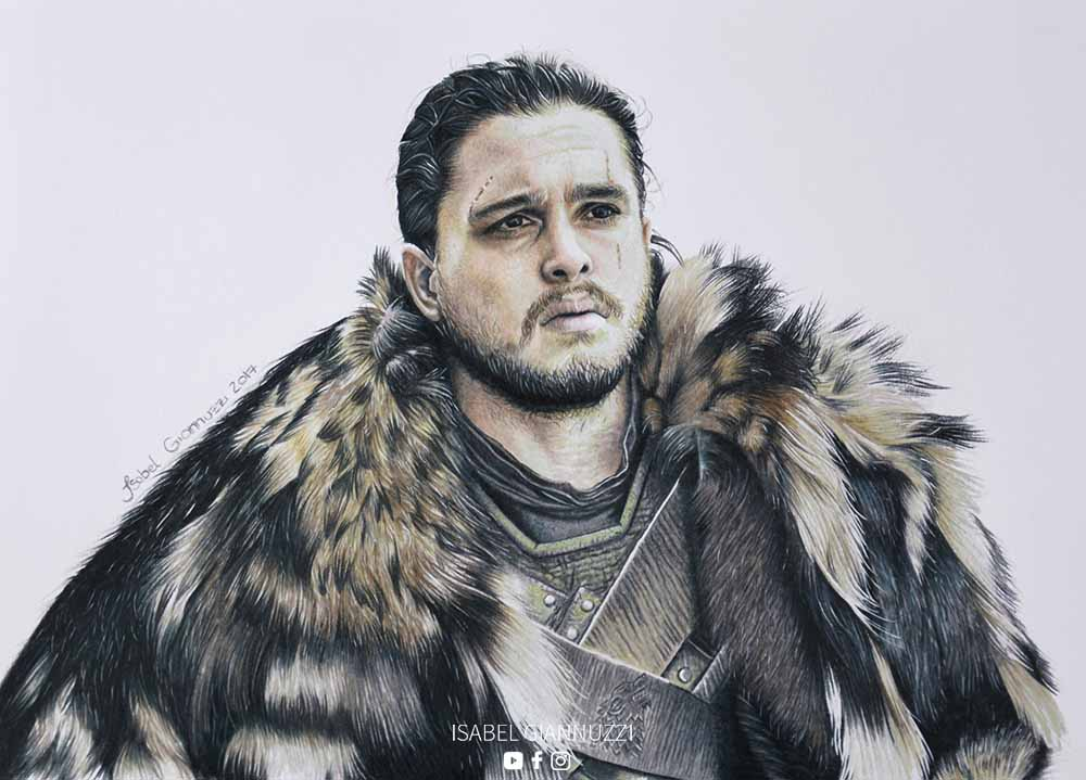 Drawing Jon Snow Fan Art Game of Thrones - Isabel Giannuzzi Art