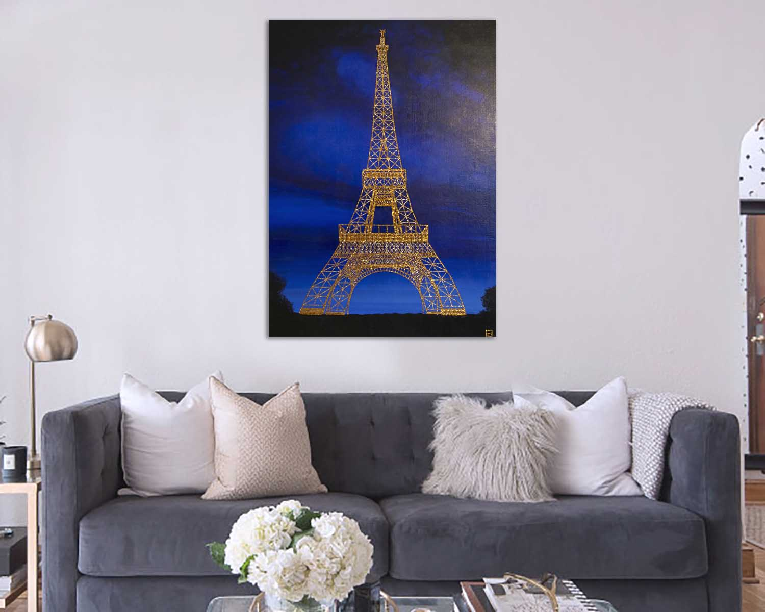 cristals painting eiffel tower isabel giannuzzi
