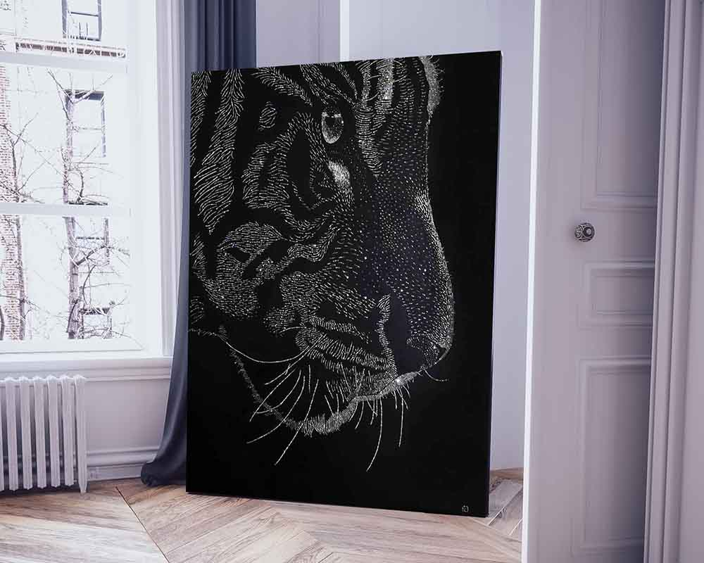 crystals painting white tiger isabel giannuzzi