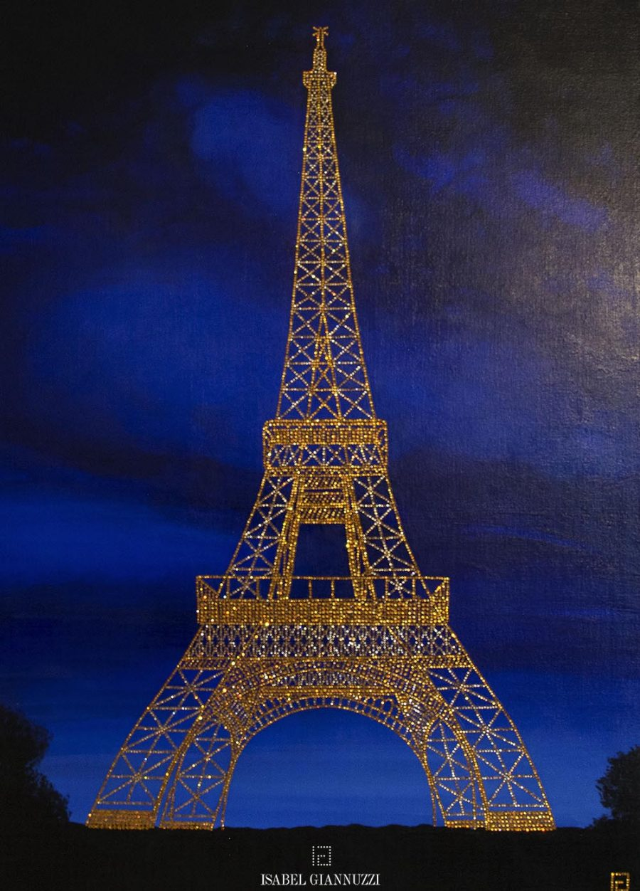 crystals painting eiffel tower isabel giannuzzi