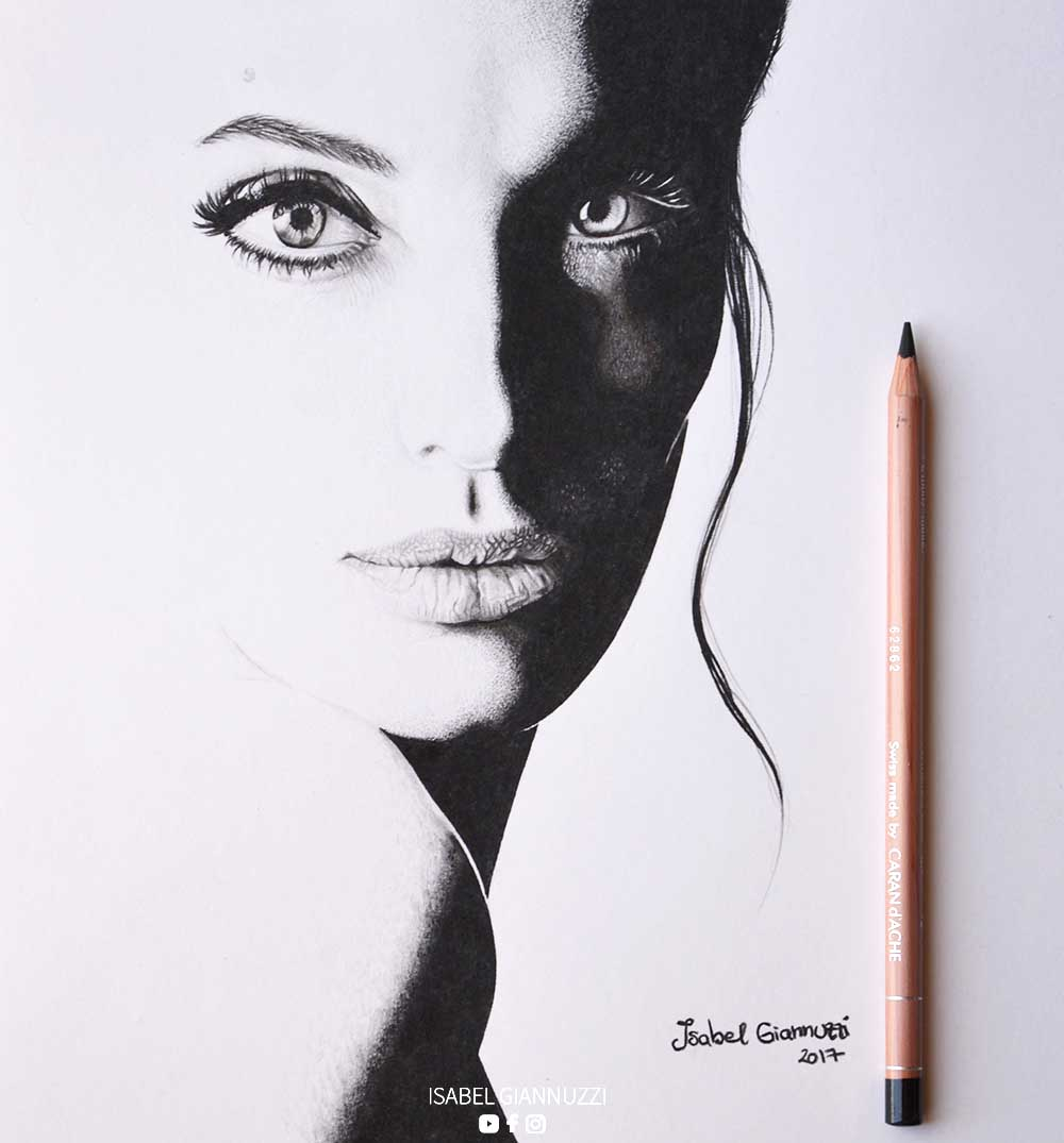 art drawing black and white angelina jolie