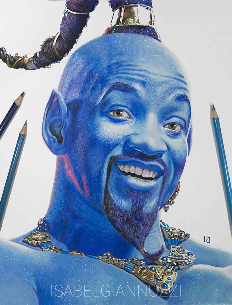 drawing will smith as the aladdin's genie