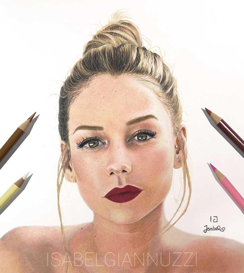 realistic colored pencils portrait ester exposito